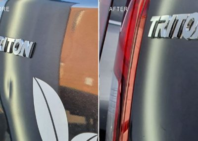 Mitsubishi-Triton-tailgate-dent-repaired-with-on-site-quote-and-repair-same-day